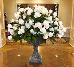 Floral arrangement in a boardroom setting