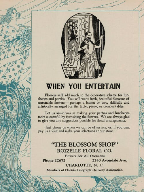 A vintage print advertisement from The Blossom Shop, circa 1930